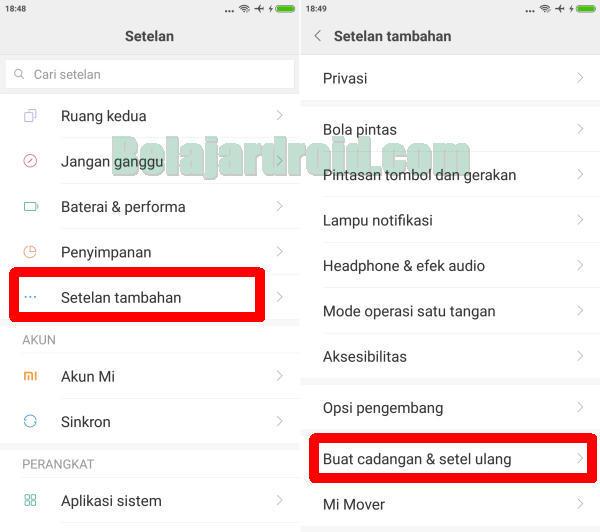 menu setel ulang xiaomi Redmi Note 7 Pro